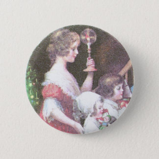 Woman with Haloed Candle Vintage Christmas Pinback Button