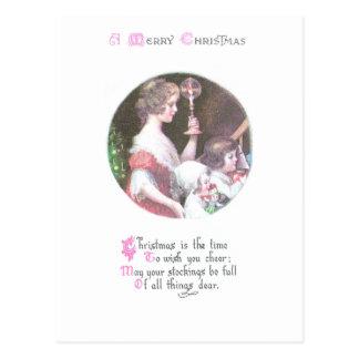 Woman with Haloed Candle Vintage Christmas Postcard
