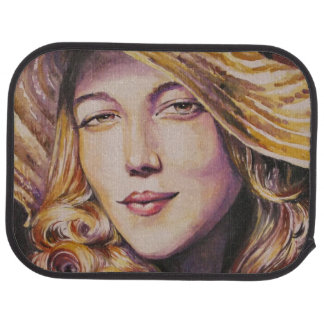 Woman with hat car floor mat