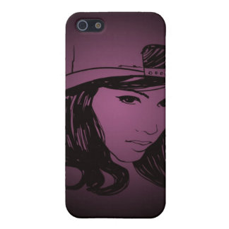 Woman with hat cover for iPhone 5