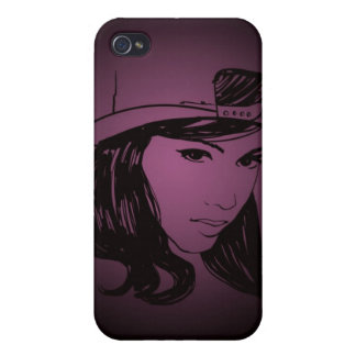 Woman with hat iPhone 4 cover