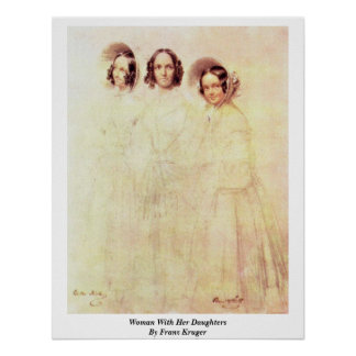 Woman With Her Daughters By Franz Kruger Print