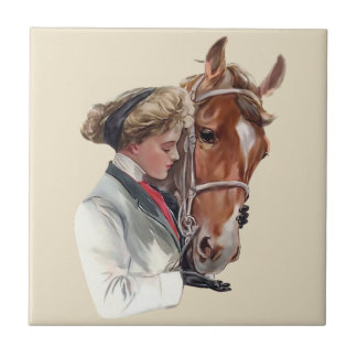 Woman With Her Favorite Horse Ceramic Tile