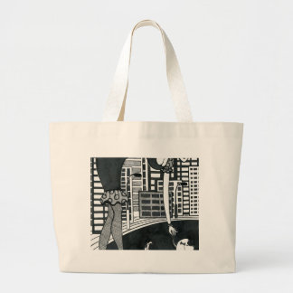 woman with her lovely dog large tote bag