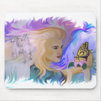 Woman with horse and butterfly in hand mouse pad