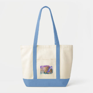 Woman with horse and butterfly in hand tote bag