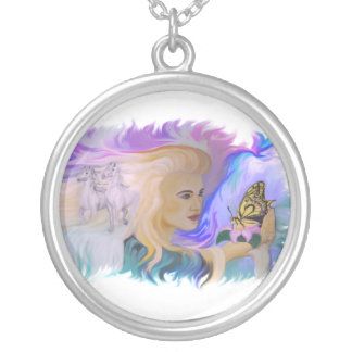 Woman with horse and butterfly personalized necklace