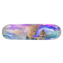 Woman with horse and butterfly on Lotus bloom Skateboard Deck