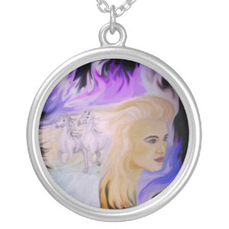 Woman with horse pendant