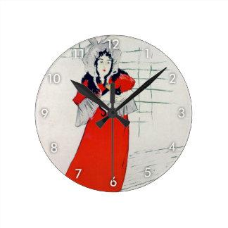 Woman with Kitten, Henri de Toulouse-Lautrec Round Clock