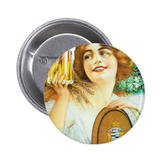 Woman with large pint of beer French illustration Pins