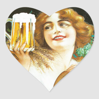 Woman with large pint of beer French illustration Heart Sticker