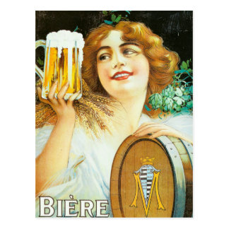 Woman with large pint of beer French illustration Postcard