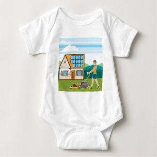 Woman with lawnmower at her house baby bodysuit