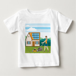 Woman with lawnmower at her house baby T-Shirt