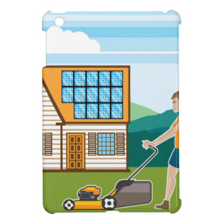 Woman with lawnmower at her house case for the iPad mini