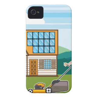 Woman with lawnmower at her house iPhone 4 cover