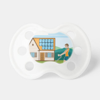 Woman with lawnmower at her house pacifier