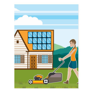 Woman with lawnmower at her house postcard
