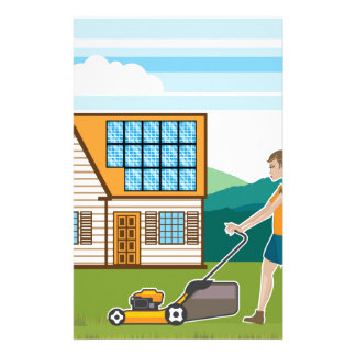 Woman with lawnmower at her house stationery