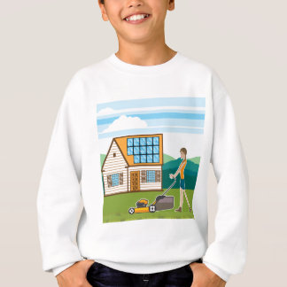 Woman with lawnmower at her house sweatshirt