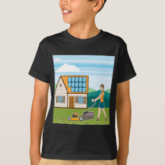 Woman with lawnmower at her house T-Shirt