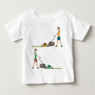 Woman with lawnmower baby T-Shirt