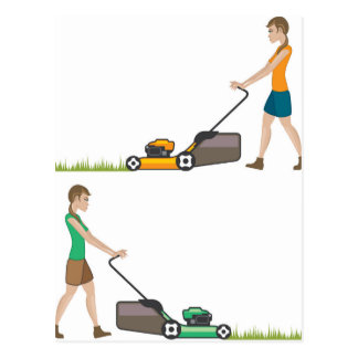 Woman with lawnmower postcard