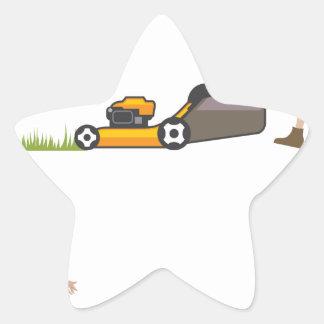 Woman with lawnmower star sticker
