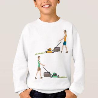 Woman with lawnmower sweatshirt