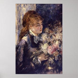 Woman with Lilacs by Pierre Renoir Print