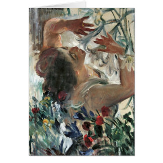 Woman with lilies in the greenhouse -Lovis Corinth Greeting Card