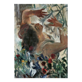 Woman with lilies in the greenhouse -Lovis Corinth Posters