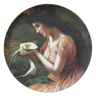 Woman with Lilly Party Plates