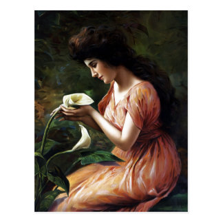 Woman with Lilly Postcard