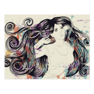 Woman with long, detailed hair postcard