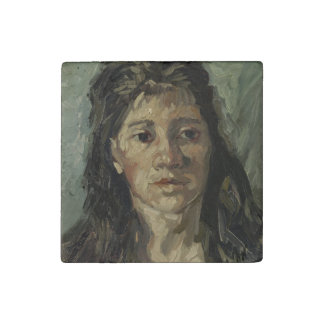 Woman with Loose Hair by Vincent Van Gogh Stone Magnet
