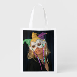 Woman with Mask Reusable Grocery Bags