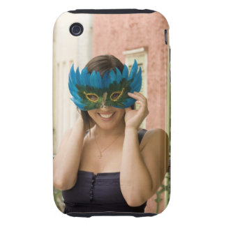 Woman with masquerade mask iPhone 3 tough case