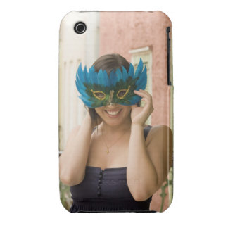 Woman with masquerade mask iPhone 3 cases