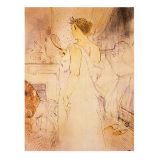 Woman with mirror by Toulouse-Lautrec Post Cards