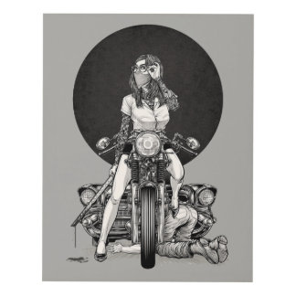 Woman With Motorcycle Panel Wall Art