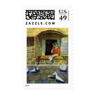 Woman with Nosegay in Window Postage