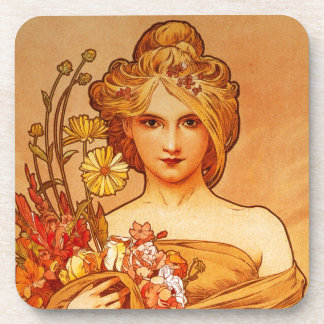 Woman with Oragna Bouquet Coaster