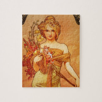 Woman with Oragna Bouquet Jigsaw Puzzles