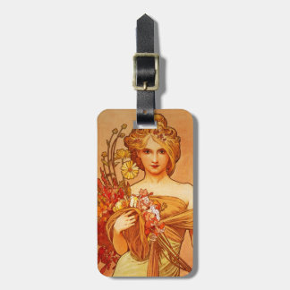 Woman with Oragna Bouquet Tags For Luggage