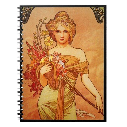 Woman with Oragna Bouquet Spiral Notebook