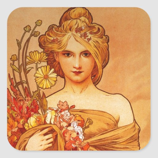 Woman with Oragna Bouquet Square Sticker
