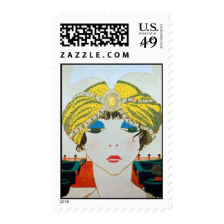 WOMAN WITH ORIENTAL YELLOW TURBAN / Beauty Fashion Postage Stamp