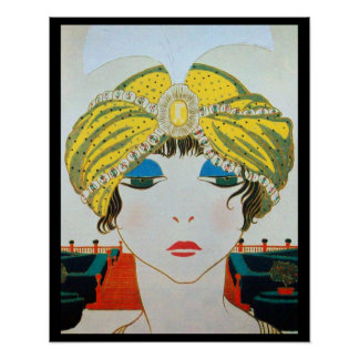 WOMAN WITH ORIENTAL YELLOW TURBAN / Beauty Fashion Poster
